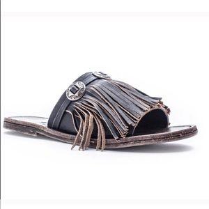 """MATISSE """"Dorado"""" Leather Fringe Slide Sandal"""